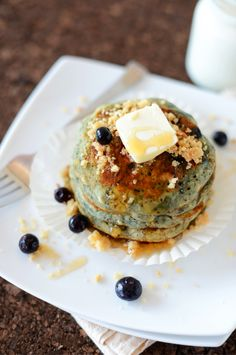 Vegan Blueberry Muffin Pancakes -fluffy & flavor & the best part? They taste just like a blueberry streusel muffin