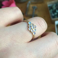 The moonstone honeycomb ring is so sweet. The deep colors in the 2mm rainbow moonstones are incredible!