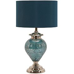 Handcrafted artisan metal mosaic table lamp - something about the blue shade I really like.