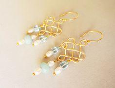 Blautopas & Gold 925 Silber Chandeliers Ohrhänger von SCHMUCK. by felicitas mayer auf DaWanda.com