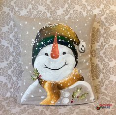 Snowman Pillow/Winter Decorations/Christmas/Home Décor/Indoor/Super Cute/Fun/Hand-painted/rustic/Indoor/Pillow Cover/Snow/Holiday Pillows Christmas Rock, Christmas Snowman, Christmas Crafts, Christmas Ornaments, Christmas Canvas, Xmas, Christmas Face Painting, Christmas Paintings, Decoration Christmas