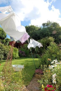 Backyard garden.Don't you just love the sight and smell of fresh washing on the line.