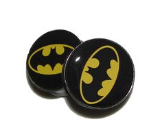 """Batman Plugs - 1 Pair - Sizes 2g, 0g, 00g, 7/16"""", 1/2"""", 9/16"""", 5/8"""", 3/4"""", 7/8"""" & 1"""". $19.95, via Etsy."""