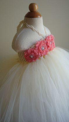 Flower girl dress Ivory, coral tutu dress, roses, baby tutu dress, toddler tutu dress,newborn-24, 2t,2t,4t,5t, birthday. $74.00, via Etsy.