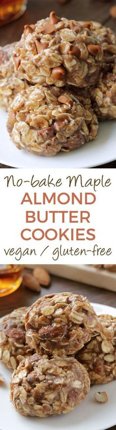 These soft and chewy no-bake maple almond butter cookies only take a few minutes., Desserts, These soft and chewy no-bake maple almond butter cookies only take a few minutes to put together and are full of delicious autumn flavors! Low Carb Dessert, Paleo Dessert, Healthy Desserts, Delicious Desserts, Dessert Recipes, Yummy Food, Coconut Desserts, Delicious Cookies, Dairy Free Recipes