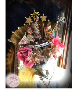 A closeup of my French Flower Ship. #FlowerShip #Headress #PinkRoses #FleurDeLis #French