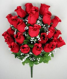 red silk rosebud bush