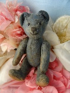 "Miniature 4+"" Antique Vtg Gray Mohair Humpback Teddy Bear Excelsior Stuffed  #AllOccasion"