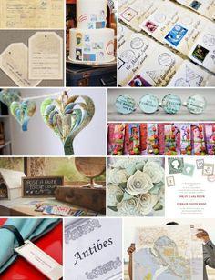 Travel wedding theme ideas mood board