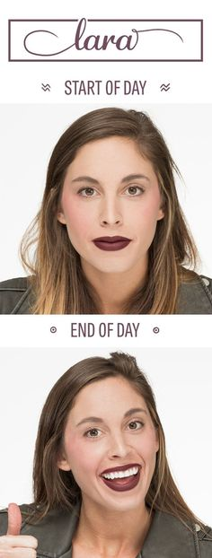 Lara: Stila Stay All Day Liquid Lipstick in Ricco ($24) | Here's How Five Different Matte Lipsticks Hold Up All Day Long