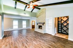Just Listed: 6031 Cartagena Houston, TX 77035 Pinterest inspired remodel! From the herringbone patterned entryway to the vaulted cathedral ceiling living area, wood tile here make for easy care AND is easy on the eyes!