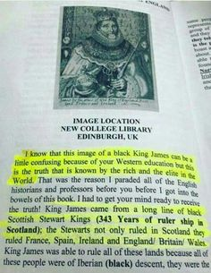 King James- the black King! Contrary to what as been taught to our people that he was white.