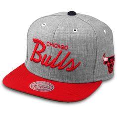 80a6154d5d1ef Mitchell Ness Snapback Cap Script Chicago Bulls grey ( 48) via Polyvore