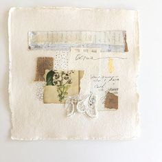 Original collage on handmade paper, 8x8, unframed, vintage ephemera, lace, burlap, shabby chic, Khadi paper, vintage flower Quiet Gratitude This lovely collage begins with handmade Khadi paper from India. Upon it is an eclectic mix of elements ranging from vintage paper from an old