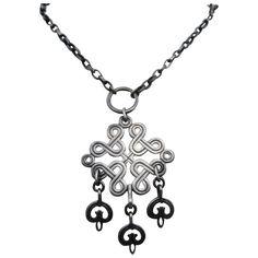 Kalevala Koru Finland Pewter Necklace w/ Karelian Braided Ribbon Motif Archaeological Finds, Finland, Vintage Shops, Pewter, Costume Jewelry, Braids, Jewelry Necklaces, Ribbon, Jewels