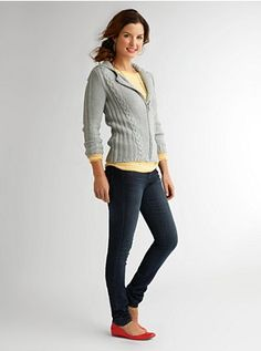 Long Walks: Style your favorite cable zip sweater with stripes and jeans for a look you can enjoy on the weekends. #shadeclothing
