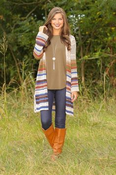 The perfect fall cardigan! Amazing fall colors! Must have! Cozy on up with this beauty! Love, love, love! Fall Work Outfits!