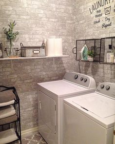 Industrial design wallpaper decor - The third picture is a very nice laundry room in its decoration. Contains two washing machines, a white hanging shelf, hanging wire baskets, and shelves to store some towels. #industrial_design_wallpaperdecor #industrialdesignwallpaper #industrialdesign #industrial_designwallpaper