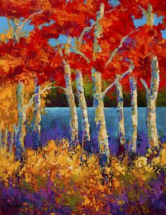 Red Birches by Marion Rose - Red Birches Painting - Red Birches Fine Art Prints and Posters for Sale Action Painting, Painting & Drawing, Encaustic Painting, Landscape Art, Landscape Paintings, Landscape Edging, Canada Landscape, Landscape Rocks, Landscape Curbing