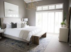 Home Interior Bohemian Kailee Wright Master Bedroom Reveal Small Master Bedroom, Master Bedroom Makeover, Master Bedroom Design, Modern Bedroom, Taupe Bedroom, Trendy Bedroom, Girls Bedroom, Master Bedrrom, Taupe Walls