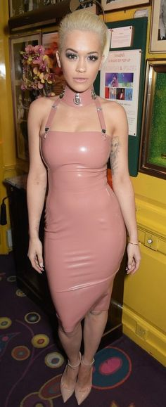 Couture latex restricted strapless pencil dress