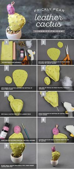 Leather Prickly Pear Plant - www.liagriffith.com #diyinspiration #diyideas #diyidea #diyprojects #diyproject #leathercraft #madewithlia