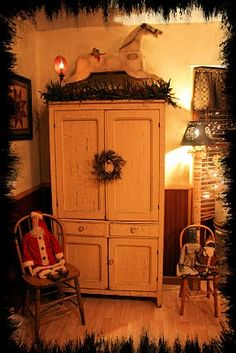 beautiful cabinet wonderfully decorated for Christmas