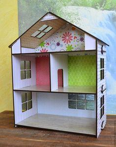 """Кукольный дом ручной работы. Ярмарка Мастеров - ручная работа. Купить Кукольный домик. """"Кирпичный"""" из фанеры. Handmade. Домик"""