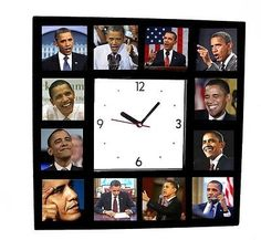 Click Here. Double your traffic. Get Vendio Gallery - Now FREE! Payment | Shipping | Additional Information The famouse Faces of Barack Obama Clock with 12 action pictures Click to View Image Album Cl