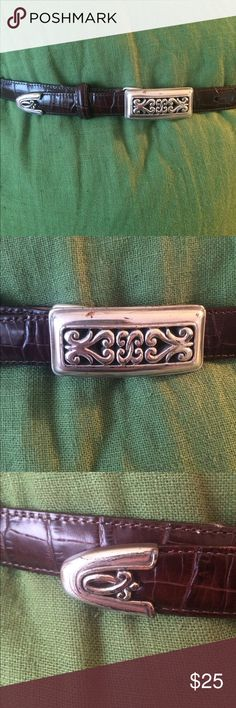 Brighton brown leather belt Brighton belt in brown croc embossed leather. Good condition. Leather has no cracks, scratches or scuffs. Buckle shows some signs of wear as is common in Brighton products. This has been a very gently, rarely worn belt. Measures 37 1/2 inches end to end. First hole is at 29 1/2 inches, last hole is at 33 1/2. Brighton Accessories Belts