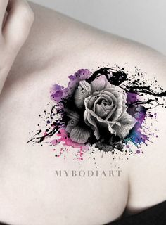 Cool Watercolor Splat Black Rose Tattoo on Shoulder - Traditional Vintage Floral. - Cool Watercolor Splat Black Rose Tattoo on Shoulder – Traditional Vintage Floral Flower Arm Tat I - Tattoo Poppy, Lace Tattoo, Wrist Tattoo, Ankle Tattoo, Tattoo Floral, Lotus Tattoo, Neue Tattoos, Body Art Tattoos, Sleeve Tattoos