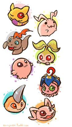 Digimon Adventure - DigiDestined's Digimon Lesser Level: Nyaromon, Tokomon, Bukamon, Tanemon, Motimon, Yokomon, Tsunomon and Koromon