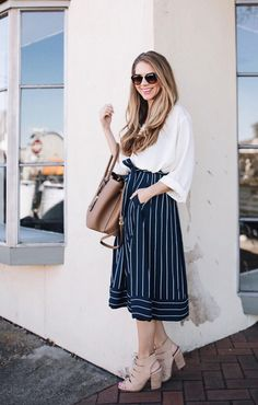 Keep your look effortlessly chic with our belted pinstripe midi skirt | Banana Republic