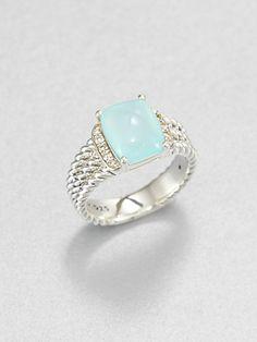 David Yurman - Aqua Chalcedony, Diamond & Sterling Silver Ring