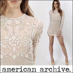 Vtg 70s Sheer Nude Silk Deco Sequin Pearl Beaded Draped Wedding Party Mini Dress | eBay