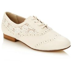 Designer Cream Lace Trimmed Brogues ($42) ❤ liked on Polyvore