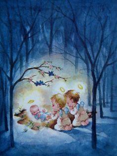 Old Christmas Post Сards — Angels & Baby Jesus  (750x1000)