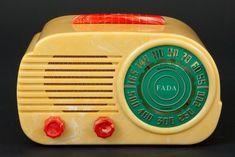 "FADA 845 ""Cloud"" Art Deco Radio in Yellow + Red Bakelite"