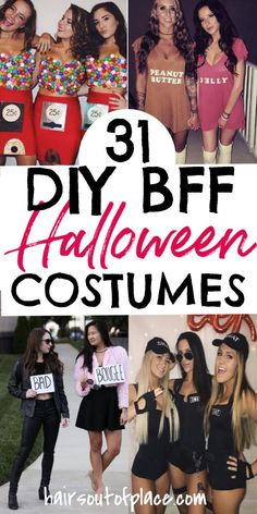 Have fun with best friends halloween costumes for women, college girls, and teens! Easy DIY Halloween costumes makes for an easy and cheap way to create clever bff costumes.