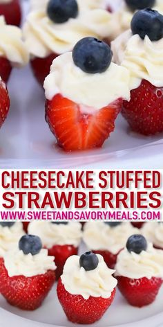 Patriotic Stuffed Strawberries Video – Sweet and Savory Meals Patriotic Stuffed Strawberries are an easy dessert made with fresh strawberries, filled with cream cheese frosting and topped with blueberries. The perfect dessert to celebrate the of July! Patriotic Desserts, 4th Of July Desserts, Fourth Of July Food, Köstliche Desserts, Delicious Desserts, Yummy Food, Summer Picnic Desserts, Fourth Of July Recipes, Finger Food Desserts