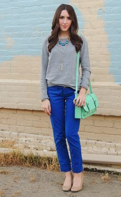 Royal Blue Pants Outfit Ideas minus that horrible shade of green purse