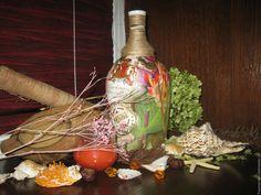 """Купить """"Колониальная"""" - комбинированный, бутылка, бутылка декоративная, бутылка декупаж, бутылочка стеклянная, бутылки"""