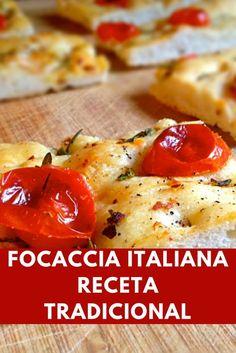 La Focaccia es uno de los más populares y más antiguos en Italia ... Conoce la receta tradicional y disfusta de este excelente pan casero italiano Focaccia Recipe, Yummy Food, Tasty, Pan Bread, Dough Recipe, Pretty Cakes, Food Videos, Italian Recipes, Brunch