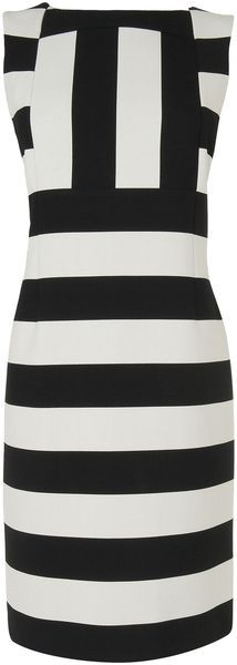 Jaeger Monochrome Stripe Dress in Black | Lyst