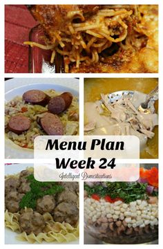 Week 24 Menu Plan is almost fall food. Cook once, eat twice Baked Spaghetti, Stovetop Cabbage, Rice and Sausage dish, Almost Homemade Chicken & Dumplings, Easy Swedish Meatballs with freezer friendly meatball recipe and Black-eye Pea Salsa for game day!