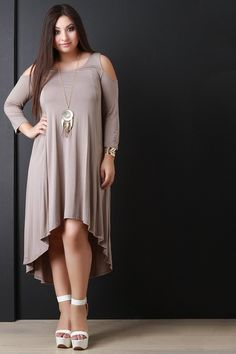 Open Shoulder High-Low Dress With Necklace – Style Lavish