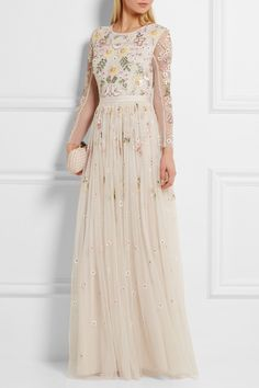 NEEDLE & THREAD Embellished tulle gown $550.00