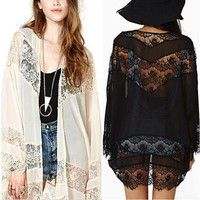 Wish | Women's Casual Vintage Boho Kimono Cardigan Lace Crochet Chiffon Loose Blouse Floral Tops White Black Beige