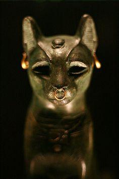 Sacred bronze cat gold jewelry Saqqara, Egypt after 600 BCE British Museum