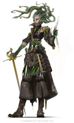 Female Lhazaarite medusa bard Goddess of sea monsters and mutinies or seafaring punishments. Revered by sailors. Fantasy Inspiration, Character Design Inspiration, Mtg Art, Fantasy Monster, Dnd Characters, Fantasy Characters, Fantasy Artwork, Creature Design, Fantasy Races